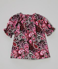 Another great find on #zulily! Pink & Black Paisley Peasant Top - Infant, Toddler & Girls #zulilyfinds