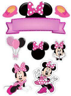 clique na imagem para seguir meu perfil no instagran Minni Mouse Cake, Bolo Da Minnie Mouse, Mickey Mouse Cake Topper, Minnie Mouse Stickers, Minnie Mouse Birthday Decorations, Minnie Mouse Balloons, Minnie Baby, Minnie Mouse Theme, Mickey Mouse Clubhouse Birthday