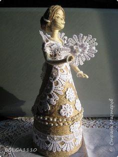 Поделка изделие 8 марта Валентинов день День матери День рождения Моделирование конструирование Шпагатная кукла шкатулка 3 Бусины Бутылки пластиковые Клей Кружево Шпагат фото 1