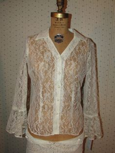 Vintage 1980s Sheer White Lace Blouse by ladysslippervintage