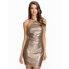 Nly One Metal Collar Dress ($24) ❤ liked on Polyvore featuring dresses, white dress, zipper dress, white halter cocktail dress, halter dress and halter-neck dress