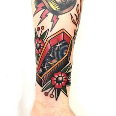 We are stardust All Tattoos, Body Art Tattoos, Sleeve Tattoos, Male Leg Tattoos, Punk Tattoo, Dope Tattoos, Coffin Tattoo, Traditional Style Tattoo, Traditional Tattoo Symbols
