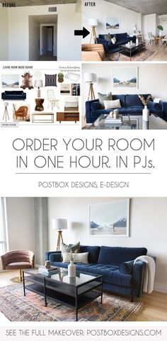 Postbox Designs: Order Your Custom Designed Room-Inside-a-Box In 1 Hour...In Your PJs. See How to Get Your Room-Inside-A-Box via Online Interior Design! & Postbox Designs Interior E-Design: Transitional Living Room Design ...