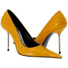 bc6fa956932 PAOLO IANTORNO Daisy Mustard Yellow Eel skin Pointed Toe Stilettos ( 349)  found on Polyvore