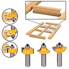 Glass Door Router Bit Set Round Over Bead Shank Woodworking Cutter Tools for sale online Cabinet Door Router Bits, Cabinet Doors, Router Woodworking, Woodworking Projects, Power Carving Tools, Door Beads, Bit Set, Power Tool Accessories, Router Table