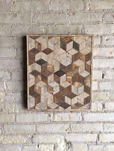 Reclaimed Wood Wall Art Decor Pattern Lath 3D by EleventyOneStudio