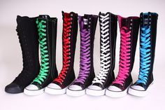 Knee high top women sneaker canvas boots black with colors laces in Clothing, Shoes & Accessories, Women's Shoes, Athletic Knee High Converse, Converse Boots, Cute Shoes, Me Too Shoes, Emo Fashion, Fashion Shoes, Geek Mode, Estilo Rock, Dream Shoes
