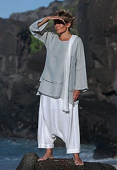 pale blue linen gauze loose fit tunic with a white harem pants ( sarouel) -:- AMALTHEE CREATIONS -:-
