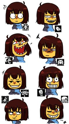 Dreamy-94 tumblr. Frisk remakes the best facial expressions of all the characters XD