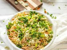 This Blue Cheese Coleslaw is crunchy, sweet, and creamy. With the perfect bite from the blue cheese, this recipe has it all. Blue Cheese Coleslaw, Easy Food To Make, Greek Yogurt, Hot Sauce, Fried Rice, Mustard, Carrots, Side Dishes, Cabbage