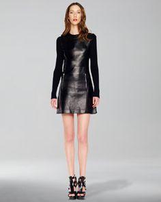 Michael Kors  Rib-Sleeve Leather Dress