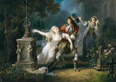 Posthumous imagining of Mademoiselle de la Vallière at Chaillot Convent (with Louis XIV), late 18th C by Jean-Frédéric Schall (1752-1825)