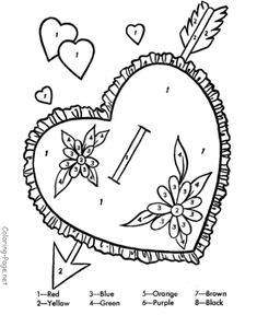 valentine coloring page color by number