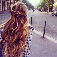 Dutch crown braid. Love the curls too