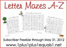 Alphabet Mazes A-Z ~ from www.1plus1plus1equals1.net