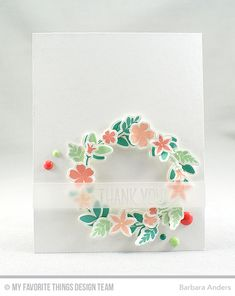 Handmade card from Barbara Anders featuring Lisa Johnson Designs Spring Wreath Stamp Set and Die-namics  #mftstamps