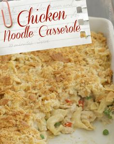 chicken noodle casserole [no canned ingredients] I will make some small changes (no bell pepper - blech) but this looks pretty good. Great for rotisserie chicken!