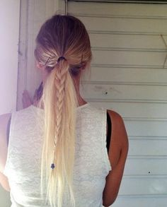 braid in a ponytail! so simple and cute!!!