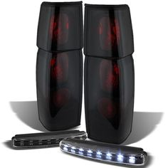 For 86-97 Hardbody Mystery Black/Smoked Tail Lights + Daytime Running Lights