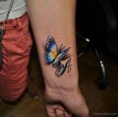 Impressive 3D Butterfly Tattoo On Wrist