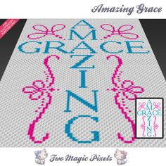 Amazing Grace crochet blanket pattern; knitting, cross stitch graph; pdf download; god, faith, spirit; no written counts or row-by-row instr by TwoMagicPixels, $1.89 USD