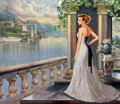 Lady On The Stairs By Lake Como. Painting Gina Femrite.