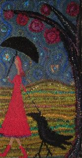 """Laura Kenney Rugs: """"Nice Day to Walk your Crow"""""""