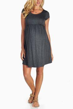 Charcoal-Grey-Basic-Maternity-Dress #maternity #fashion