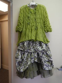 Dress to Kill's textured cotton sweater in this fabulous green is the perfect top layer to Krista Larson's small floral print cotton Umbrella Slip and tulle and organza trimmed Roxy Skirt!