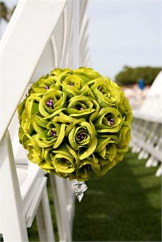 Wedding seats with green bouquet of flowers Lime Wedding, Purple Wedding, Wedding Bride, Wedding Costs, Wedding Fun, Wedding Things, Wedding Chairs, Wedding Seating, Wedding Flower Arrangements