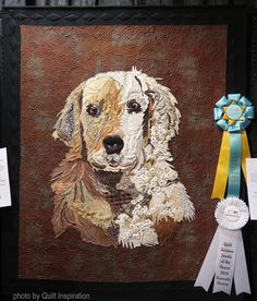 Keeping the Peace by Barbara Miller, quilted by Cindy Stohn. Photo by Quilt Inspiration: Quilt Arizona 2019 Dog Quilts, Animal Quilts, Star Quilts, Easy Quilts, Lattice Quilt, Millefiori Quilts, Pineapple Quilt, Kaleidoscope Quilt, Desert Colors