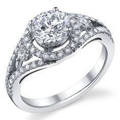 Three Stone Halo Ring With Split Shank