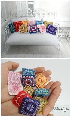 Miniature crochet pillow for dollhouse, miniature granny square cushion in pink and green colors, dollhouse pillow, model Miniature crochet pillow for dollhouse miniature granny par MiniGio Miniature Crafts, Miniature Dolls, Point Granny Au Crochet, Barbie Furniture, House Furniture, Crochet Pillow, Mini Things, Barbie House, Diy Doll