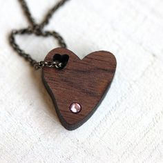 Heart Necklace with birthstone by TinyWhaleStudio on Etsy, $18.00 Tiny Whale Studio