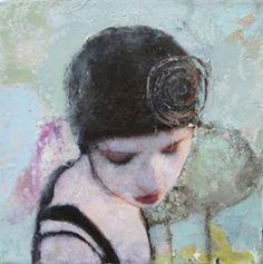 Veronique Paquereau, La Vie en Rose 3, Gemengde techniek op doek, 20x20 cm, €.195,-