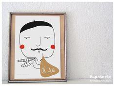 Illustrationen - Oh LaLa Monsieur, A4 Druck Poster - ein Designerstück von maedchenwahn bei DaWanda