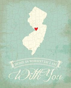 New Jersey map art state poster- 8 x 10 Typographic poster, inspirational print, wall decor, kitchen art, digital print, quote art