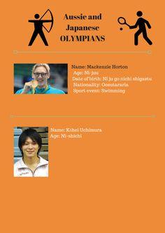 Aussie and Japanese OLYMPIANS Name: Mackenzie Horton Age: Ni-juu Da...