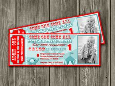 Printable Vintage Circus Ticket Birthday Invitation | Carnival Ticket Invite | Kids Party Idea | First Birthday | Elephant | Thank You Card Included | Matching Party Package Available! Banner | Cupcake Toppers | Favor Tag | Food and Drink Labels | Signs | Candy Bar Wrapper | www.dazzleexpressions.com