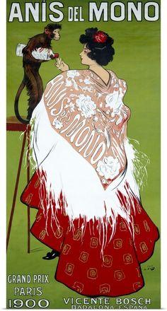 Ramon Casas i carbo - Anis del Mono (cartel) Vintage Advertising Posters, Vintage Travel Posters, Vintage Advertisements, Retro Poster, Poster Ads, Print Poster, Pub Vintage, Vintage Labels, Art Deco Posters
