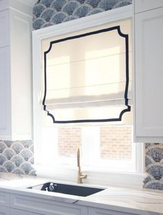 """Flat Roman Shade """"Cheval Cream"""" with chain mechanism and geometric border, custom made Roman Shades French Door Curtains, No Sew Curtains, Custom Drapes, Shades Blinds, Arched Windows, Window Coverings, Roman Shades, Valance, Modern"""