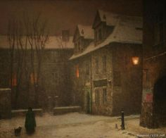 Praha 2012 - Jakub Schikaneder – Hawkee – album na Rajčeti Nocturne, Jakub Schikaneder, Foto Gif, Moonlight Painting, Bohemian Art, Winter Art, Old Master, Prague, Urban Landscape