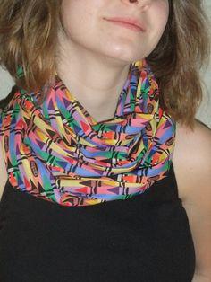 Infinity Scarf  - Loop Scarf - Circle Scarf - Rainbow color crayon - Cotton - teacher apparel