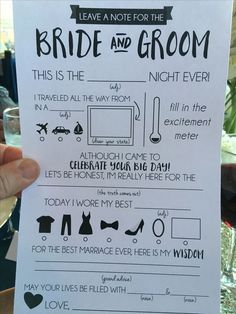 "Cute & fun wedding ""Mad Lib"" -Fun to know who was there and maybe helpful with gifts handwriting? Cute Wedding Ideas, Wedding Games, Wedding Tips, Perfect Wedding, Fall Wedding, Our Wedding, Wedding Planning, Dream Wedding, Wedding Stuff"