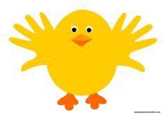 Pulcino realizzato con le sagome delle mani. Idea da tenere presente come lavoretto per Pasqua . LAVORETTO PASQUA Materiale: cartoncini colorati forbici co
