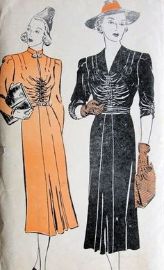 1930s Lovely Dress Pattern with shirred bodice and sleeves, 2 neckline styles.    New York Patterns no. 1000