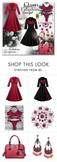 """""""Vintage Polka Dot Insert Swing Dress"""" by ane-twist ❤ liked on Polyvore featuring Bastien and vintage"""