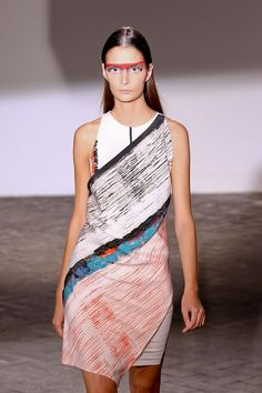 Cedric Charlier S/S '13 painterly patterned dress