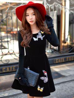 Morpheus Boutique  - Black Flare Long Sleeve Round Neck Dress, $179.99…