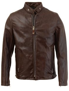 654 COWHIDE CASUAL RACER LEATHER JACKET (BROWN) from $650.00